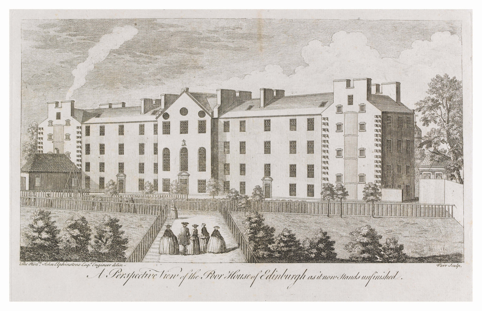 A perspective view of the Poor House of Edinburgh as it now stands unfinished
